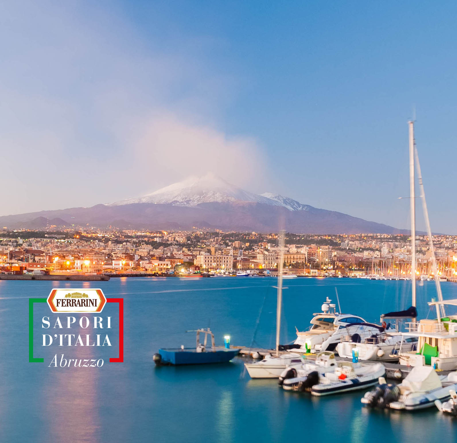 Skyline of Catania with volcano Etna after the sunset